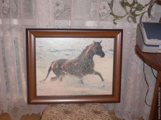Животные ручной работы. Ярмарка Мастеров - ручная работа. Купить Конь вороной. Handmade. Голубой, коньяк, Купание, нитки мулине