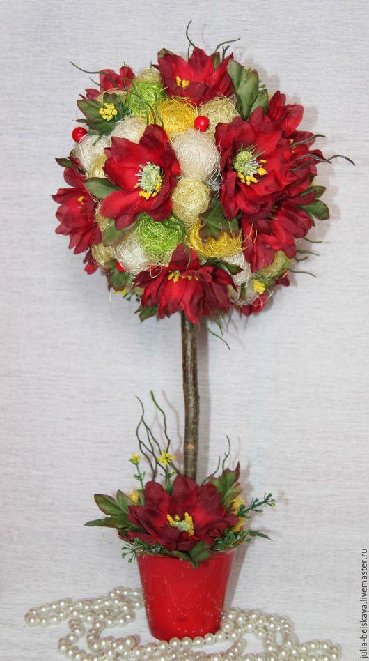Топиарий из сизаля и иск цветов. Высота 41 см. Ручная работа. Юлия Бельская