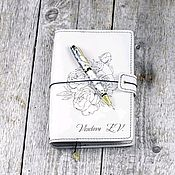 Сувениры и подарки handmade. Livemaster - original item White leather A5 notebook with personalization. Handmade.