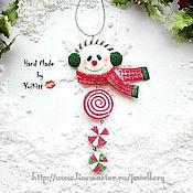 """Подарки к праздникам ручной работы. Ярмарка Мастеров - ручная работа Елочное украшение """"Candy Snowman"""" -2. Handmade."""