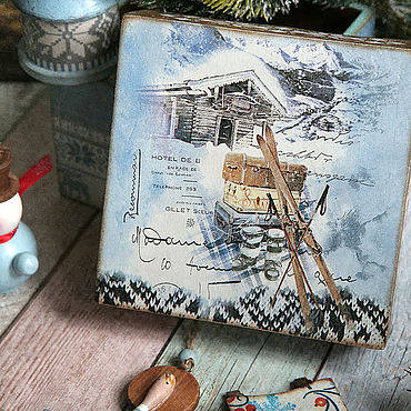 Подарки к праздникам handmade. Livemaster - original item Toy boxes Travel to an Alpine village . Decoupage box. Handmade.