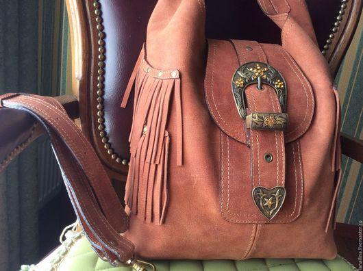Сумка из кожи `Сандра` (кожаная сумка, сумка ручной работы)