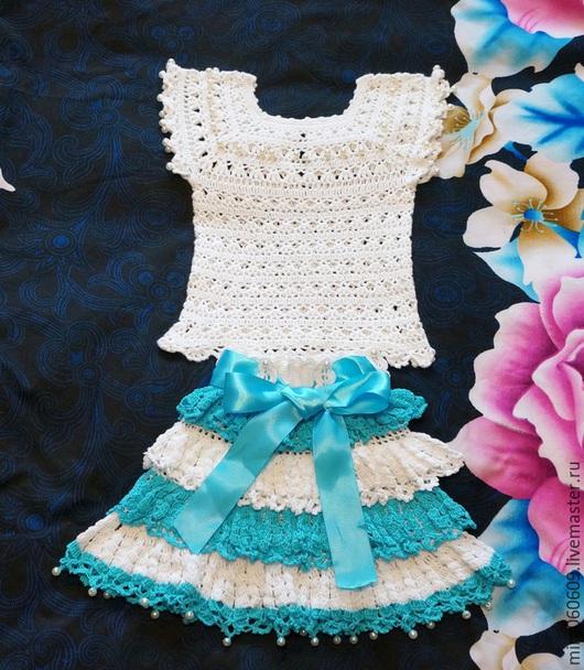 Одежда для девочек, ручной работы. Ярмарка Мастеров - ручная работа. Купить Комплект: топик и юбочка. Handmade. Топик, вязаный топик