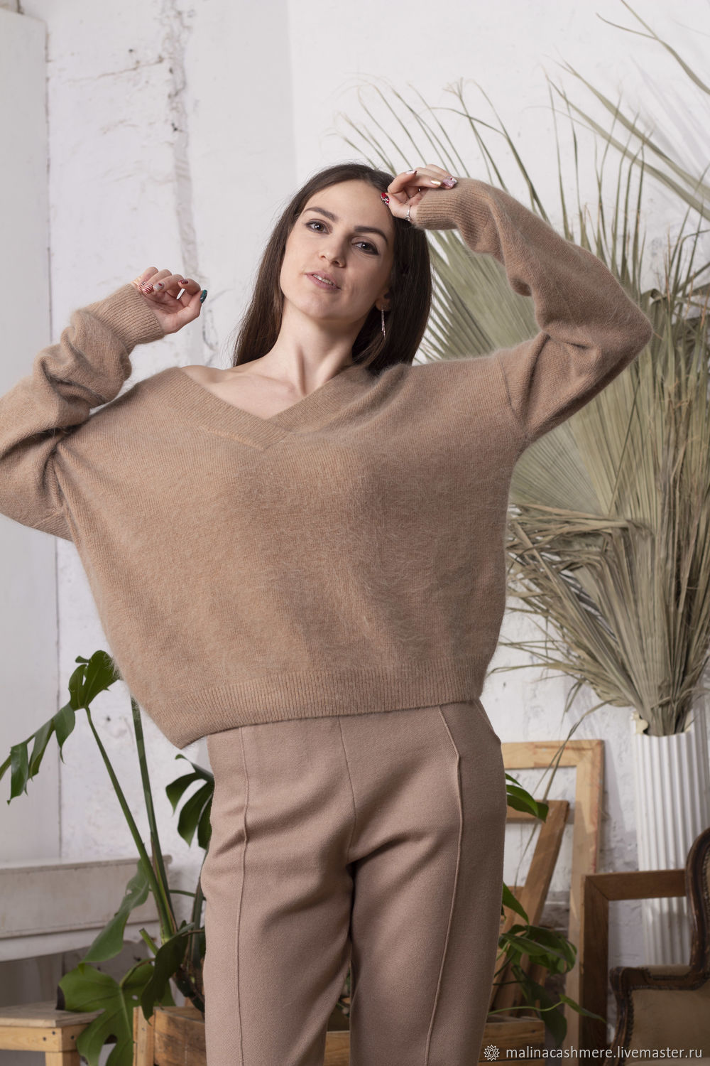 Angora jumper with V neck coffee, Sweaters, Moscow,  Фото №1