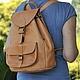 Рюкзаки ручной работы. Ярмарка Мастеров - ручная работа. Купить Большой кожаный рюкзак - разные цвета кожи. Handmade.