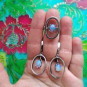 Украшения handmade. Livemaster - original item A348# Geometry, oval earrings, silvering, blackening, cubic zirconia. Handmade.