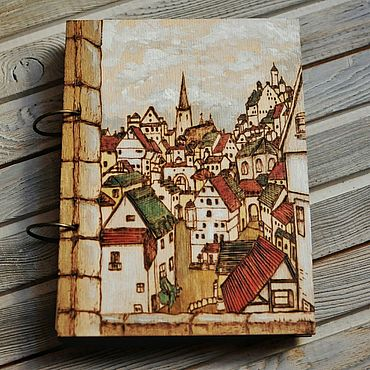 """Stationery handmade. Livemaster - original item Notepad wood cover A5 """"Old town"""". Handmade."""