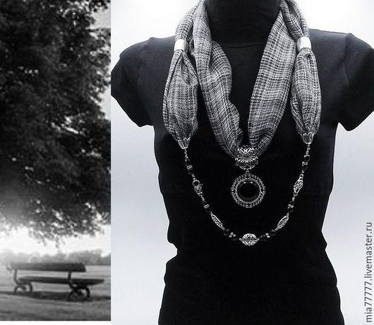Шарфы и шарфики ручной работы. Ярмарка Мастеров - ручная работа. Купить Шарф декорированный Черно- белое кино. Handmade. Черный