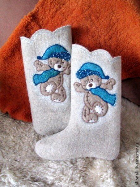 """Обувь ручной работы. Ярмарка Мастеров - ручная работа. Купить Валенки """"Мишка Тедди"""". Handmade. Валенки, валенки ручной валки"""