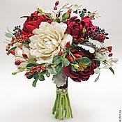 Свадебный салон ручной работы. Ярмарка Мастеров - ручная работа Винный букет невесты с цветами из полимерной глины. Handmade.