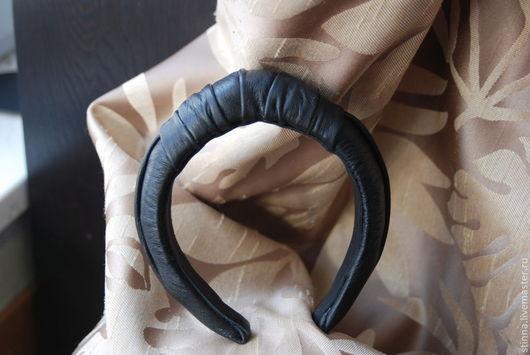 Диадемы, обручи ручной работы. Ярмарка Мастеров - ручная работа. Купить объёмный ободок для волос из натуральной кожи. Handmade.