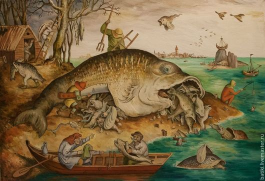 Репродукции ручной работы. Ярмарка Мастеров - ручная работа. Купить Большие рыбы поедают малую. Копия гравюры П.Брейгеля. Handmade.
