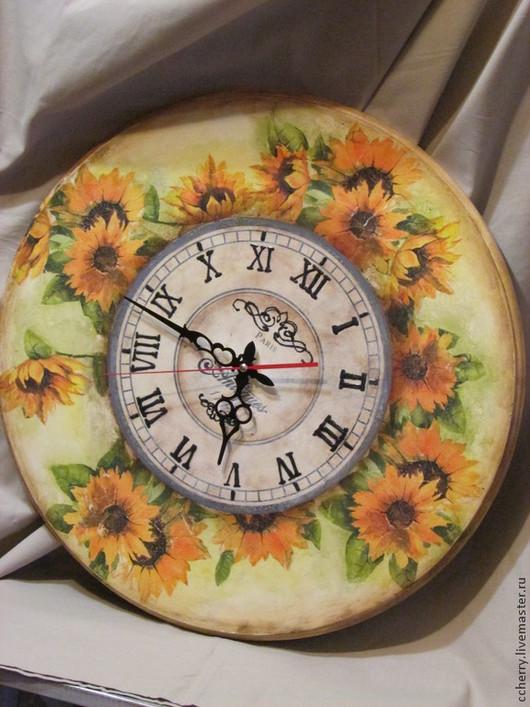 """Часы для дома ручной работы. Ярмарка Мастеров - ручная работа. Купить Часы настенные """"Поле подсолнухов"""". Handmade. Желтый, солнце"""