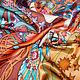 """Шали, палантины ручной работы. Платок-панно """"Зодиак"""", по мотивам работ А. Мухи. Татьяна Султанова  Batik and Felt. Ярмарка Мастеров."""