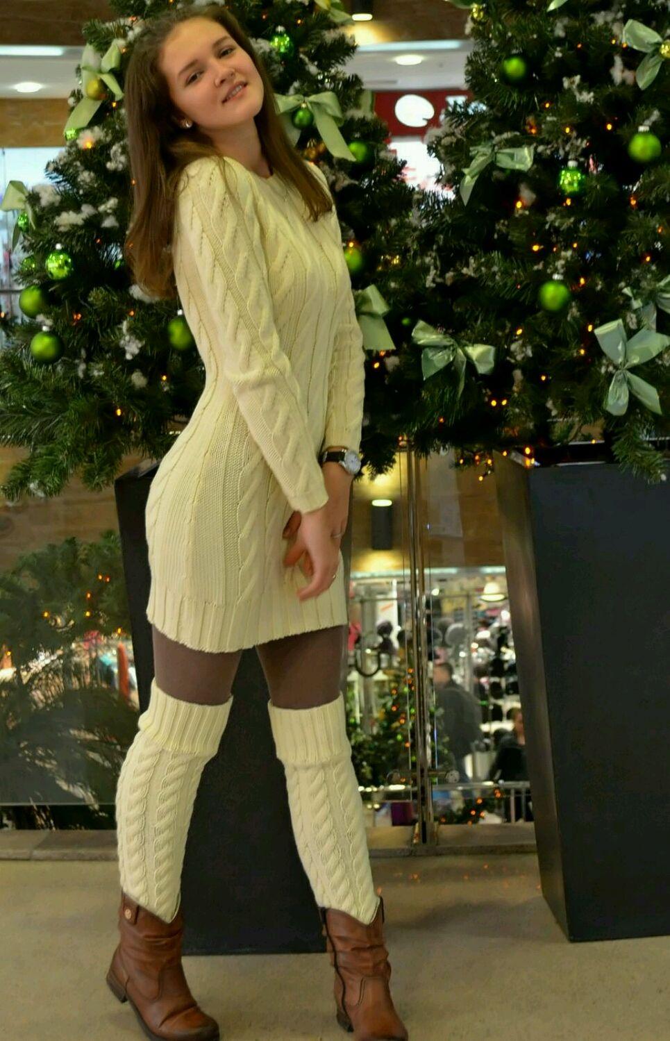 Вязаный комплект платье и гетры – купить в интернет ...