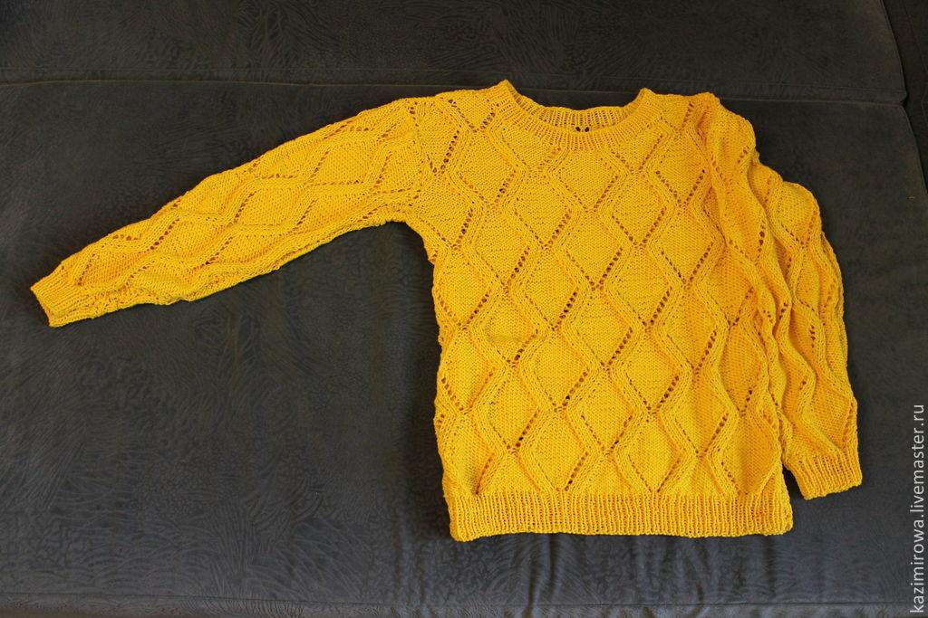 свитер вязаный жёлтый купить в интернет магазине на ярмарке