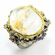 Украшения handmade. Livemaster - original item Ring with ghostly quartz, garnet and peridot. Handmade.