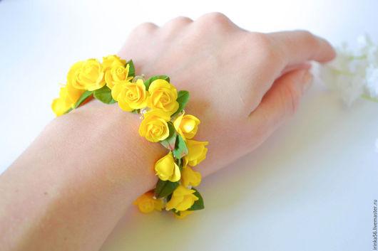 """Браслеты ручной работы. Ярмарка Мастеров - ручная работа. Купить Браслет """"Желтые розы"""". Handmade. Желтый, подарок жене"""