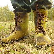 Обувь ручной работы. Ярмарка Мастеров - ручная работа Ботинки валяные в стиле милитари. Handmade.