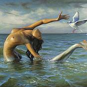 Картины и панно ручной работы. Ярмарка Мастеров - ручная работа Картина маслом Русалка в море, чайка летит. Handmade.