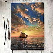 """Картины и панно ручной работы. Ярмарка Мастеров - ручная работа """"Закат на море"""". Масло. Handmade."""