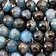 Бусины из натурального камня агата синего с черным цвета формы граненый шар диаметром 14 мм комплектами по 10 штук для использования в сборке украшений