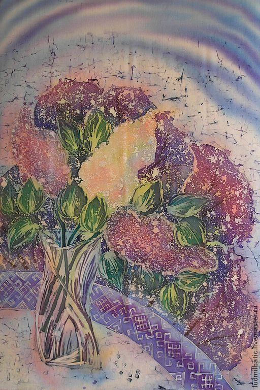 Картины цветов ручной работы. Ярмарка Мастеров - ручная работа. Купить Сирень. Handmade. Сиреневый, Батик, картина, картина в подарок