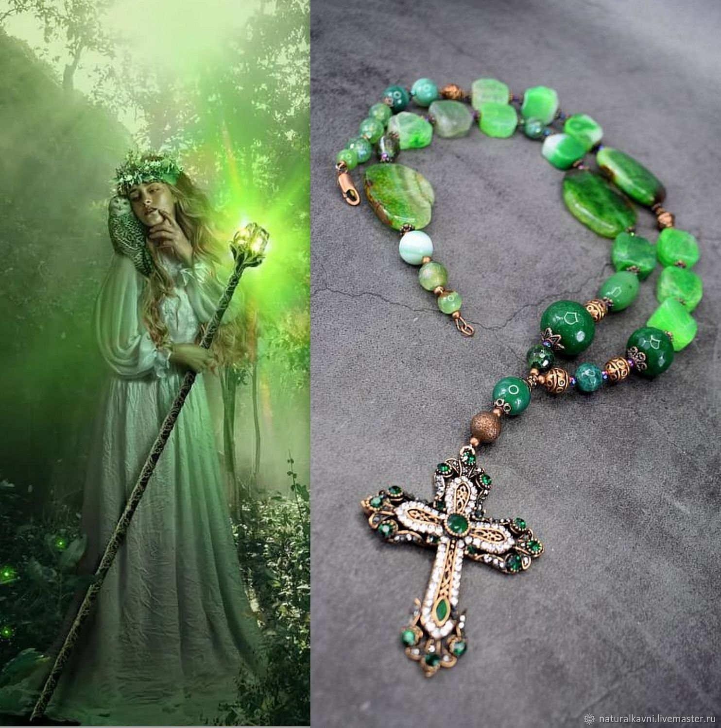 Rosary Necklace with Agate Green Agate cross, Necklace, Moscow,  Фото №1