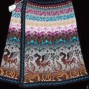 Одежда ручной работы. Ярмарка Мастеров - ручная работа Жаккардовая юбочка с запахом из натуральной шерсти.. Handmade.