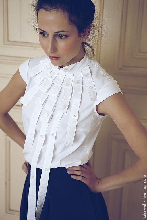 """Блузки ручной работы. Ярмарка Мастеров - ручная работа. Купить Блузка-рубашка """"Кучерявая Жизнь"""". Handmade. Белый, классический стиль"""