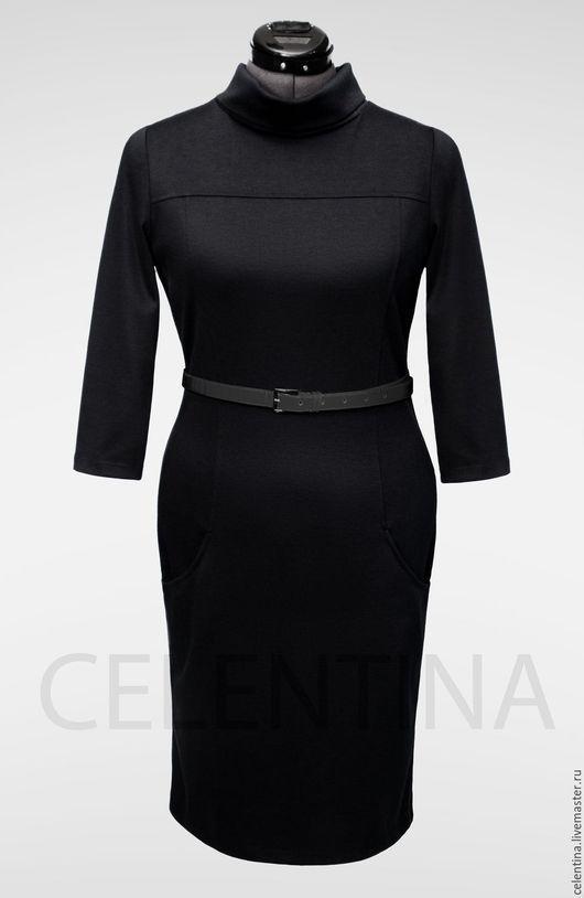 Черное повседневное платье Весна-Осень