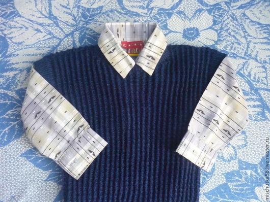 Жилеты ручной работы. Ярмарка Мастеров - ручная работа. Купить жилет из шерсти. Handmade. Тёмно-синий, вязание спицами