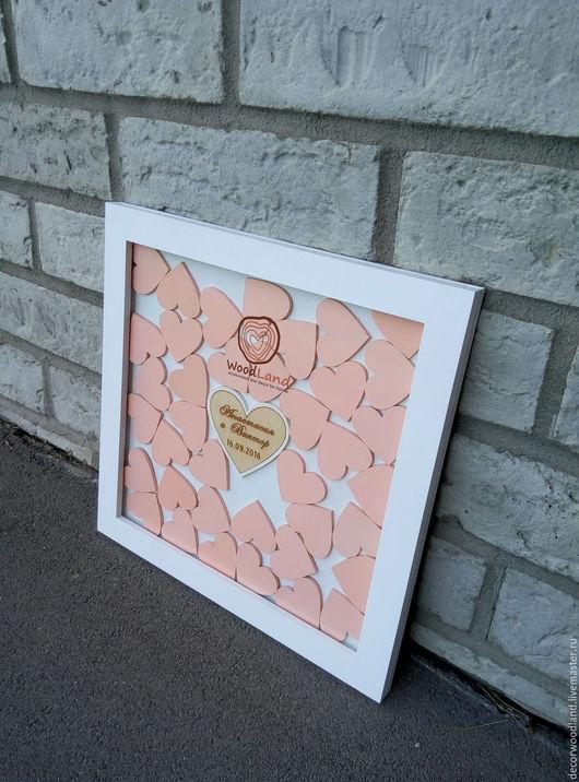 Свадебные аксессуары ручной работы. Ярмарка Мастеров - ручная работа. Купить Свадебная рамка пожеланий с персиковыми сердечками. Handmade. Бежевый