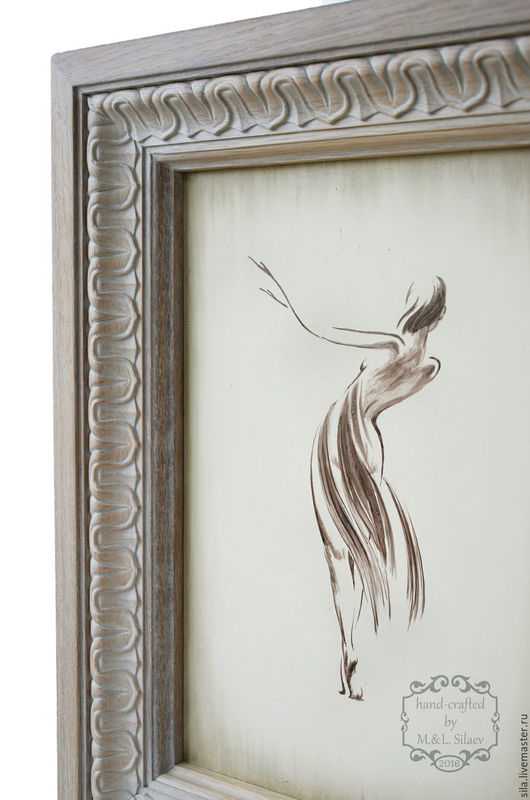 Рама деревянная. Рама для картины. Резная дубовая рама. Графика. Танцовщица. Картина в раме. Картина на щиток. Картина на электрощиток. элитная мебель.