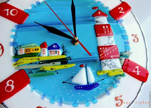 Часы для дома ручной работы. Ярмарка Мастеров - ручная работа. Купить часы из стекла, фьюзинг  Маяк. Handmade. Синий, море