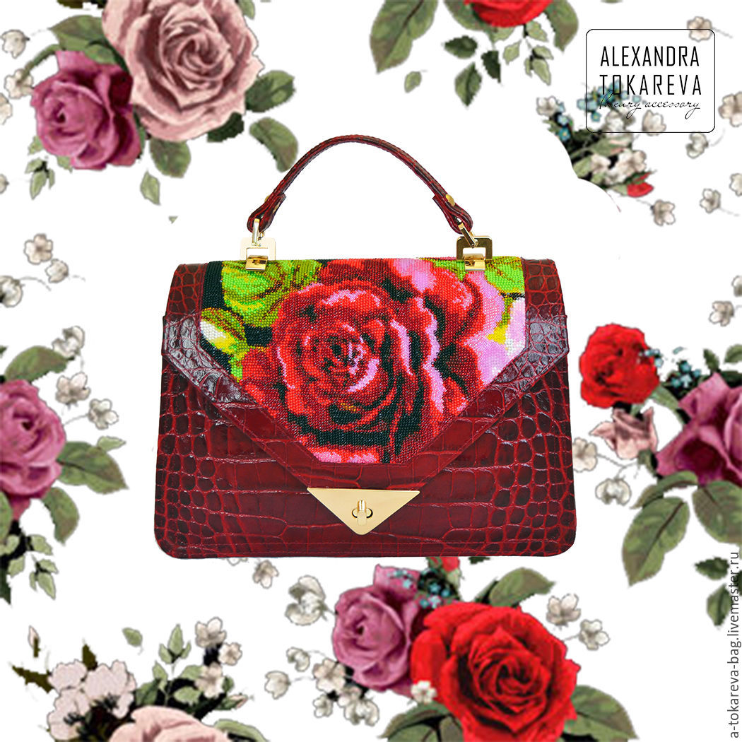 An exclusive designer bag beaded embroidered 'Autumn rose', Classic Bag, Kiev,  Фото №1