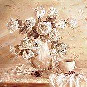 Картины и панно ручной работы. Ярмарка Мастеров - ручная работа Гризайль с белыми розами. Handmade.