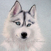 Картины и панно ручной работы. Ярмарка Мастеров - ручная работа Портрет собаки. Хаски. Handmade.
