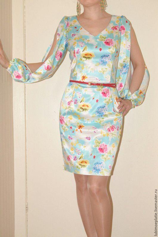 """Платья ручной работы. Ярмарка Мастеров - ручная работа. Купить Платье """"Цветы"""".. Handmade. Голубой, платье футляр, сатин-стрейч"""