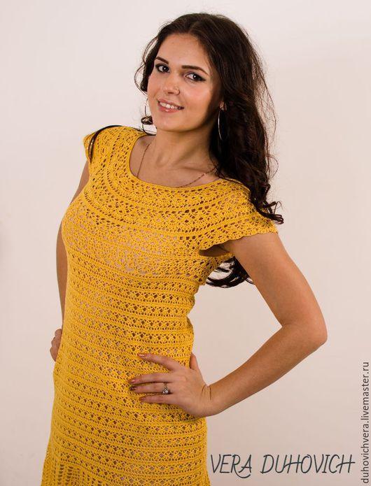 Платья ручной работы. Ярмарка Мастеров - ручная работа. Купить Солнечное платье. Handmade. Желтый, платье крючком