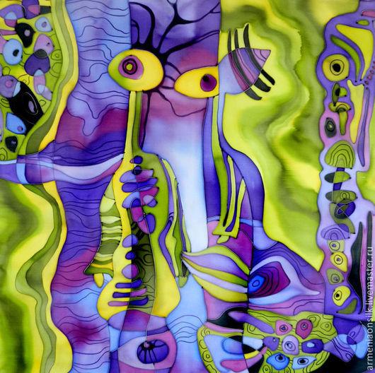 """Шали, палантины ручной работы. Ярмарка Мастеров - ручная работа. Купить Батик платок """"Инопланетяне"""". Handmade. Художественная роспись, планеты"""