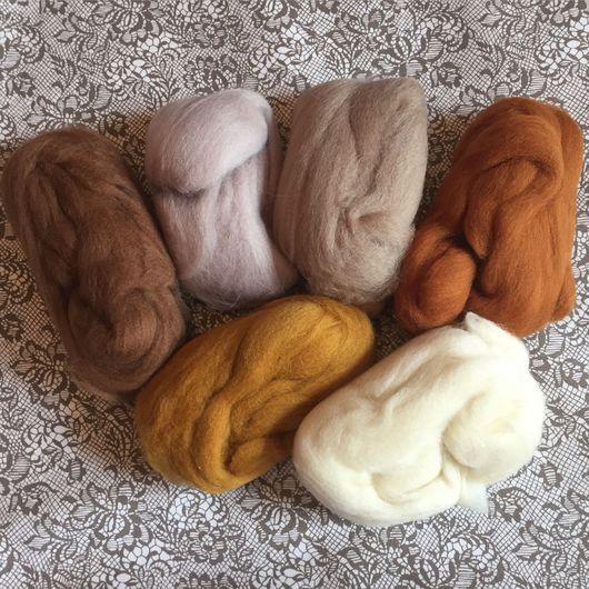 Валяние ручной работы. Ярмарка Мастеров - ручная работа. Купить Набор шерсти для кукольных причёсок 7 цветов. Handmade. Тильда