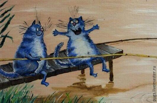 """Животные ручной работы. Ярмарка Мастеров - ручная работа. Купить Картина маслом """"Рыбаки"""". Handmade. Комбинированный, коты, рыбалка"""