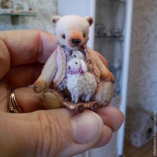 Мишки Тедди ручной работы. Ярмарка Мастеров - ручная работа. Купить Артур, 6,3 см.. Handmade. Бежевый, шёлк