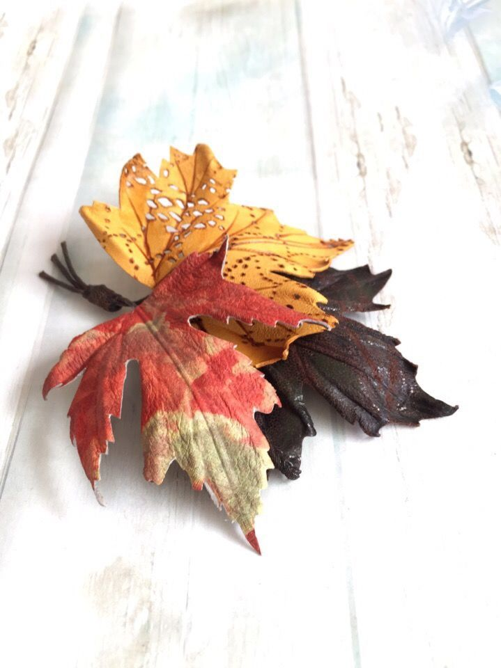 Brooch made of leather Bouquet autumn feelings, Brooches, Noyabrsk, Фото №1