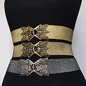 Аксессуары handmade. Livemaster - original item belt-elastic band Butterfly 91 gold decor Gold, 40 mm, elastic. Handmade.