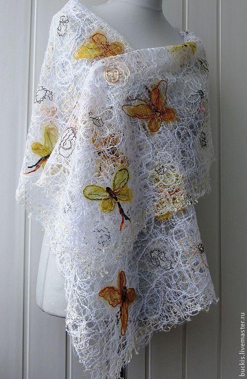 Шали, палантины ручной работы. Ярмарка Мастеров - ручная работа. Купить Взмах крыльев мотылька  - Ажурный шарф – палантин. Handmade.