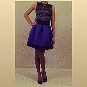 Одежда ручной работы. Ярмарка Мастеров - ручная работа Юбка синяя с кружевом. Handmade.