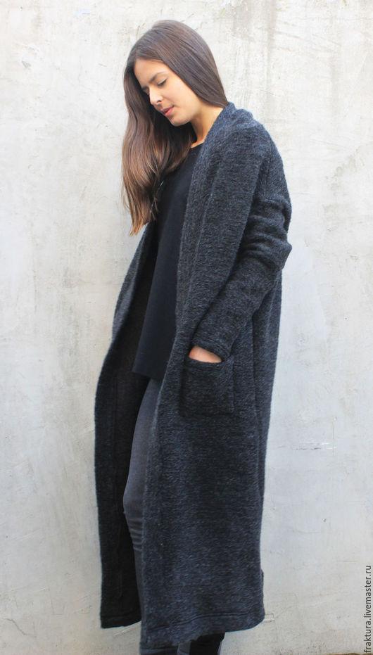 """Верхняя одежда ручной работы. Ярмарка Мастеров - ручная работа. Купить Кардиган """"Warm"""" V0012. Handmade. Черный, длинное пальто"""