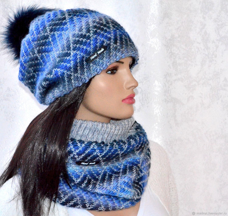 Set 'Magic Blue' double vivingovaya hat Snood, Headwear Sets, Moscow,  Фото №1